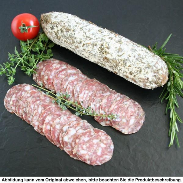 """luftgetrocknete Salami vom Strohschwein """"Kräuter der Provence"""" geschnitten"""